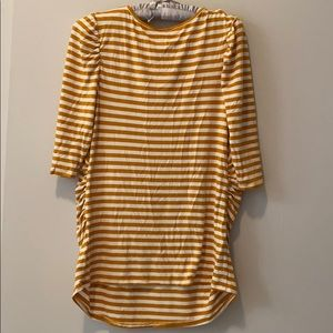 Isabel Maternity by Ingrid & Isabel Tops - Isabel Maternity Mustard Yellow Striped 3/4 Sleeve